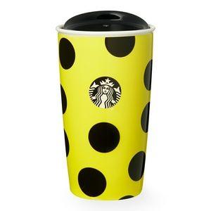 Starbucks Yellow Black Polka Dot 12oz Traveler NIB